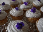beauty shot! the plum almond cupcake with a pansy on top