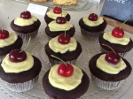 black forest/schwarzwalder cupcakes with a real, live cherry and custard on top!